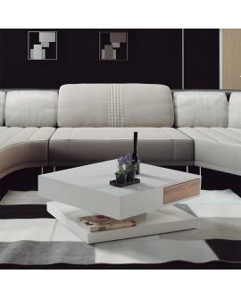 Table basse rotative laque blanc et 2 tiroirs bois LEIA