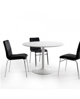 Table Ronde 110 Cm 5 A 6 Couverts Pied Central Metal Laque