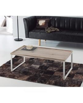 Table basse rectangulaire plateau chêne et pied métal VERONA
