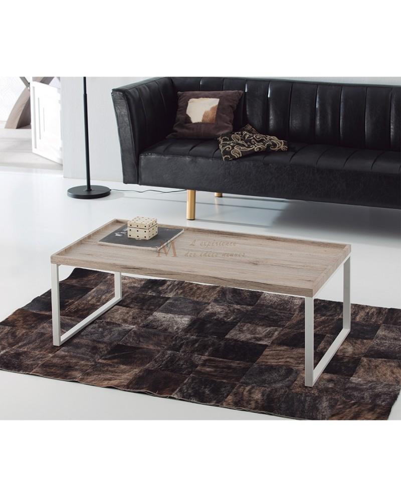 Table Basse Moderne Plateau Ch Ne Vieilli Pied M Tal Blanc