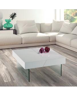 Table de salon carrée laque blanche pieds verre trempé espace rangement SYLVIA