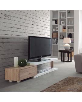 Meuble télévision laqué blanc brillant et décor chêne HABANA