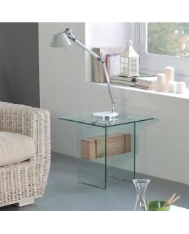 Bout de canapé moderne verre trempé avec entretoise bois NATACHA