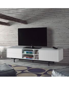Meuble TV design laque blanc avec pied métal noir BEA