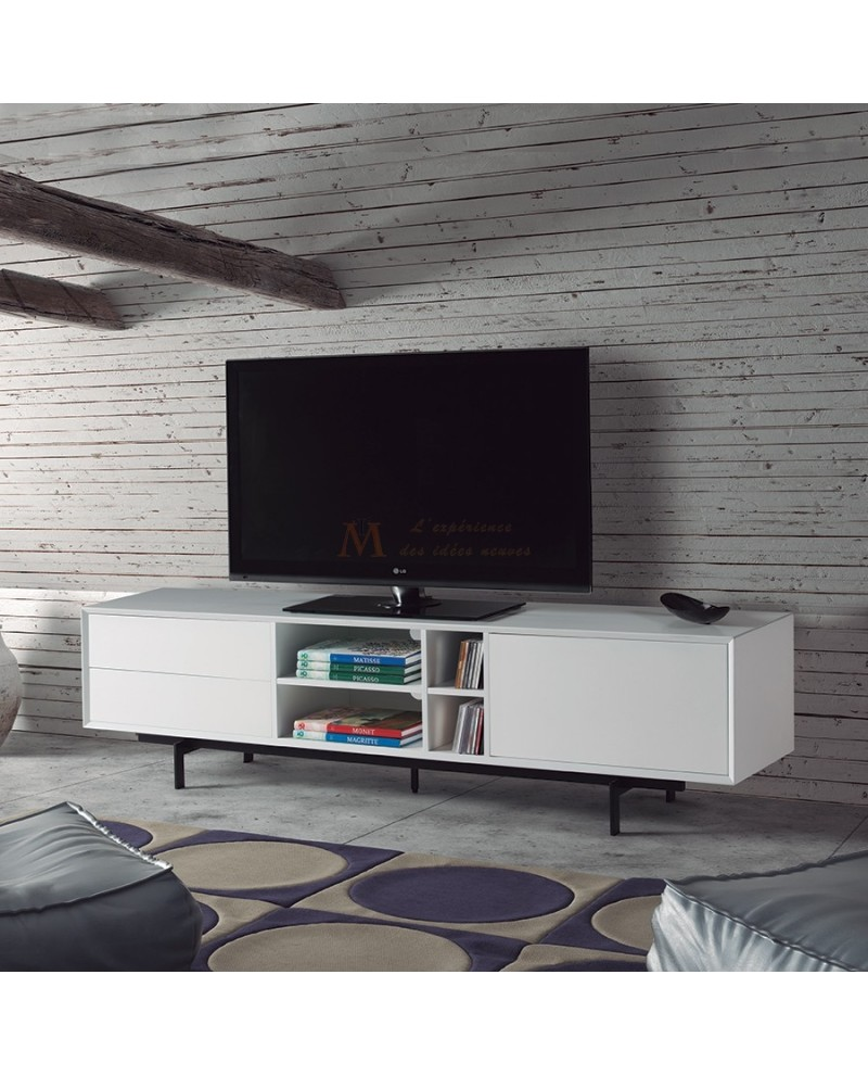 Meuble Tv Blanc Design Fashion Designs # Meuble Tv Laque Blanc Mdf Led Rose