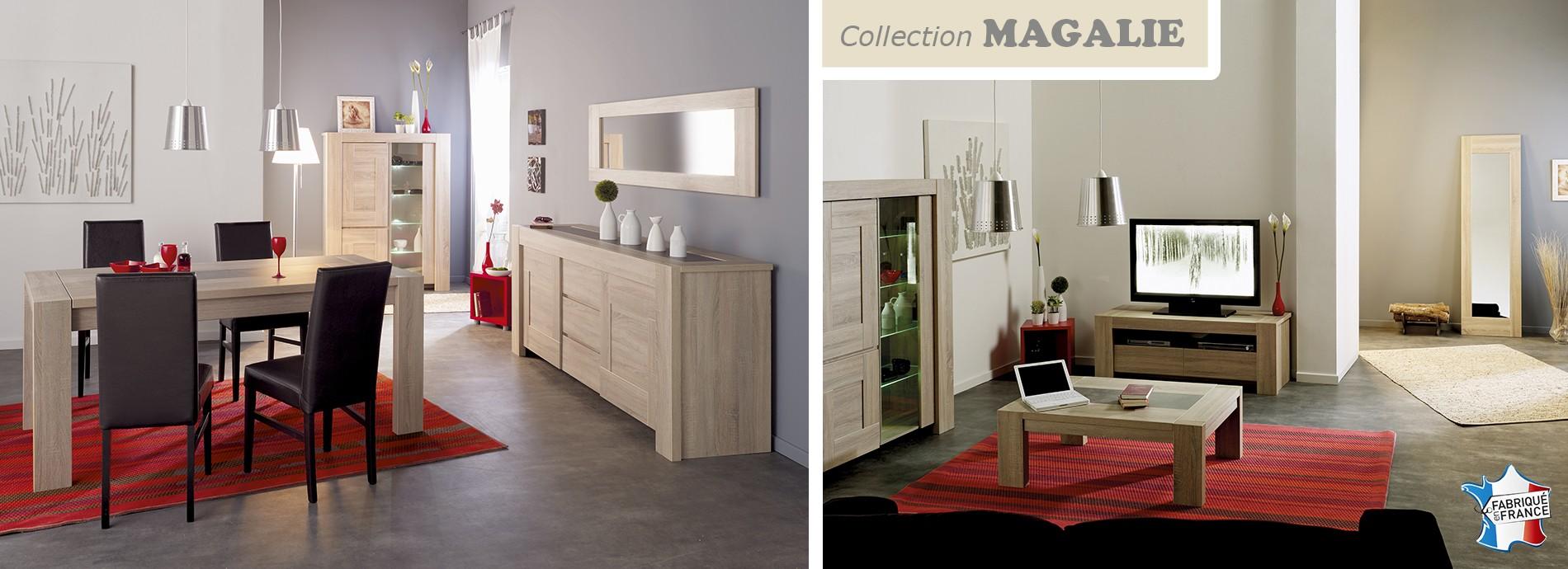 Collection MAGALIE - Décor chêne brut avec incrustation de béton