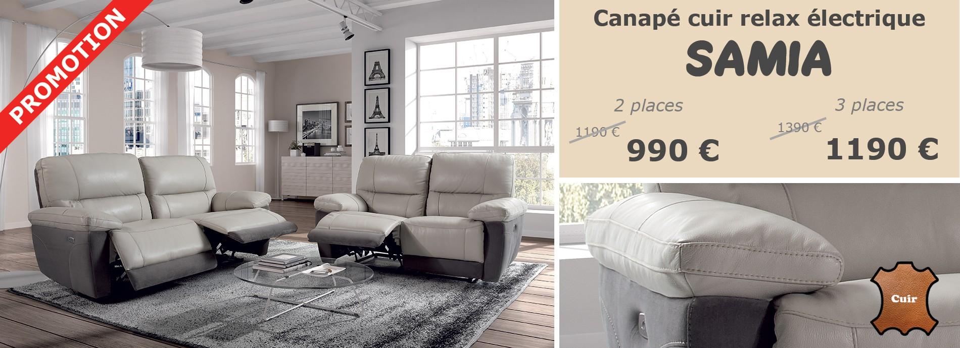 Promotion exceptionnelle sur le canapé relax électrique SAMIA