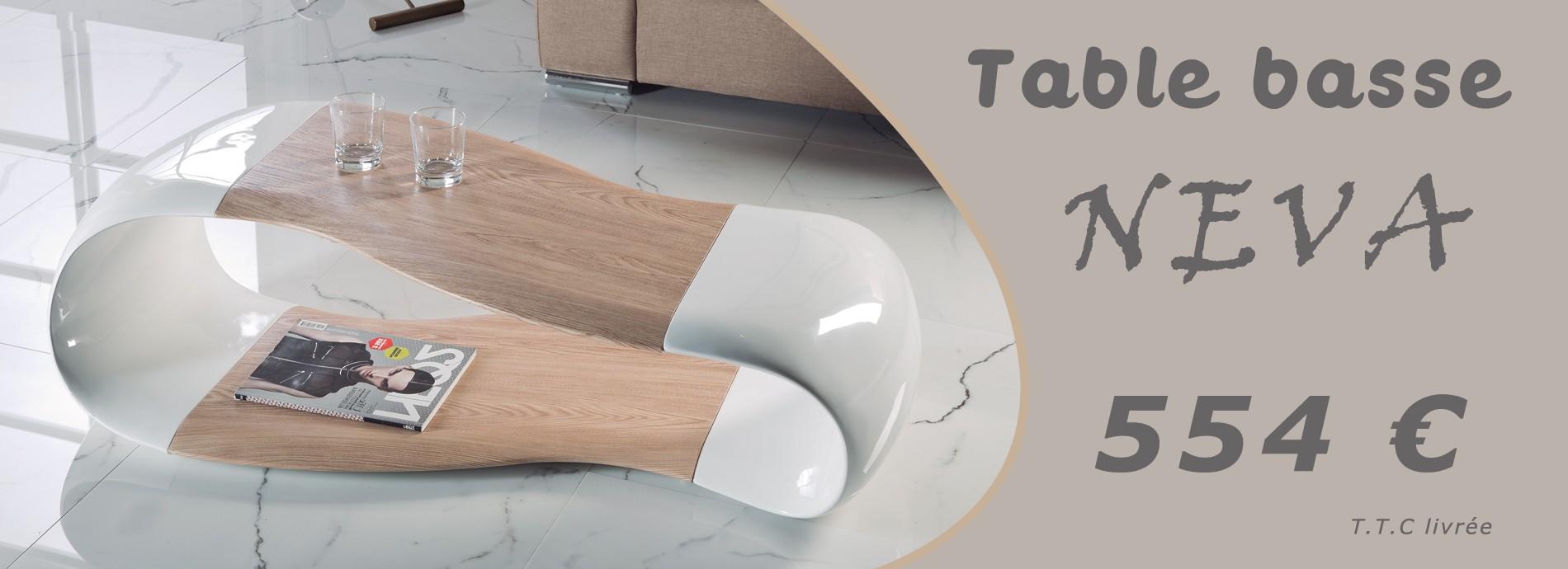 Table basse contemporaine bois et laque NEVA