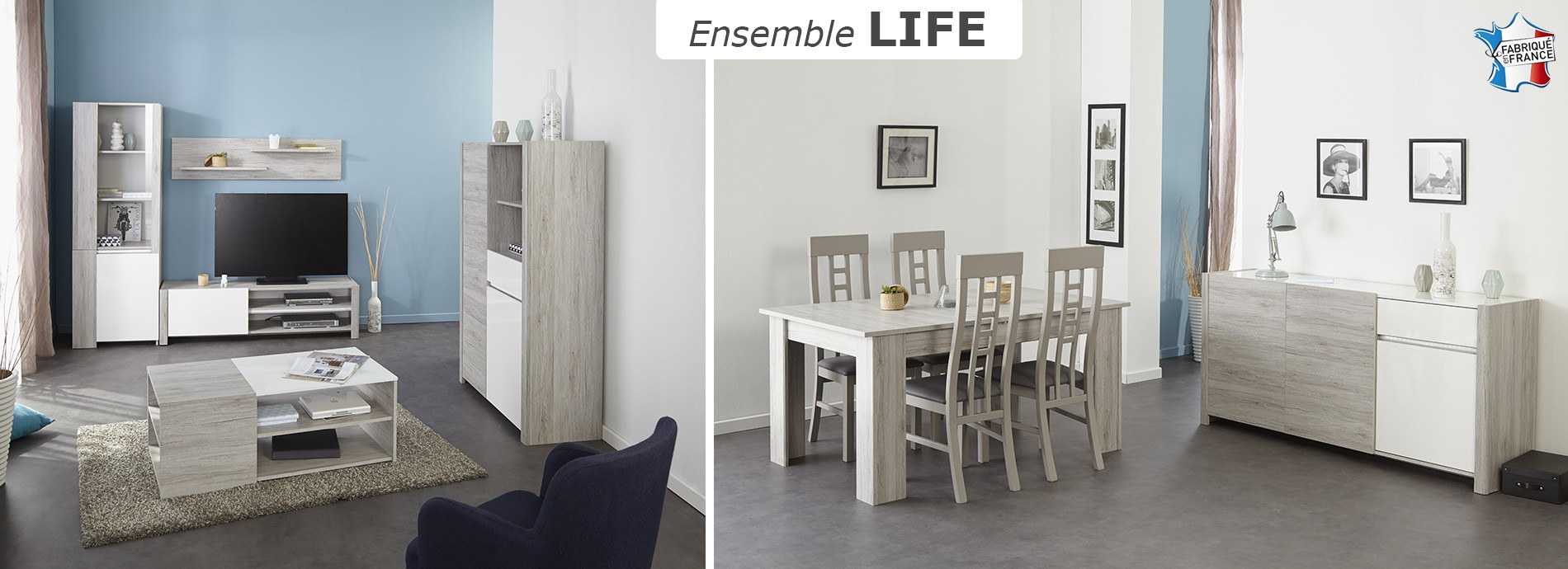 Collection contemporaine LIFE décor chêne gris et mélamine blanche