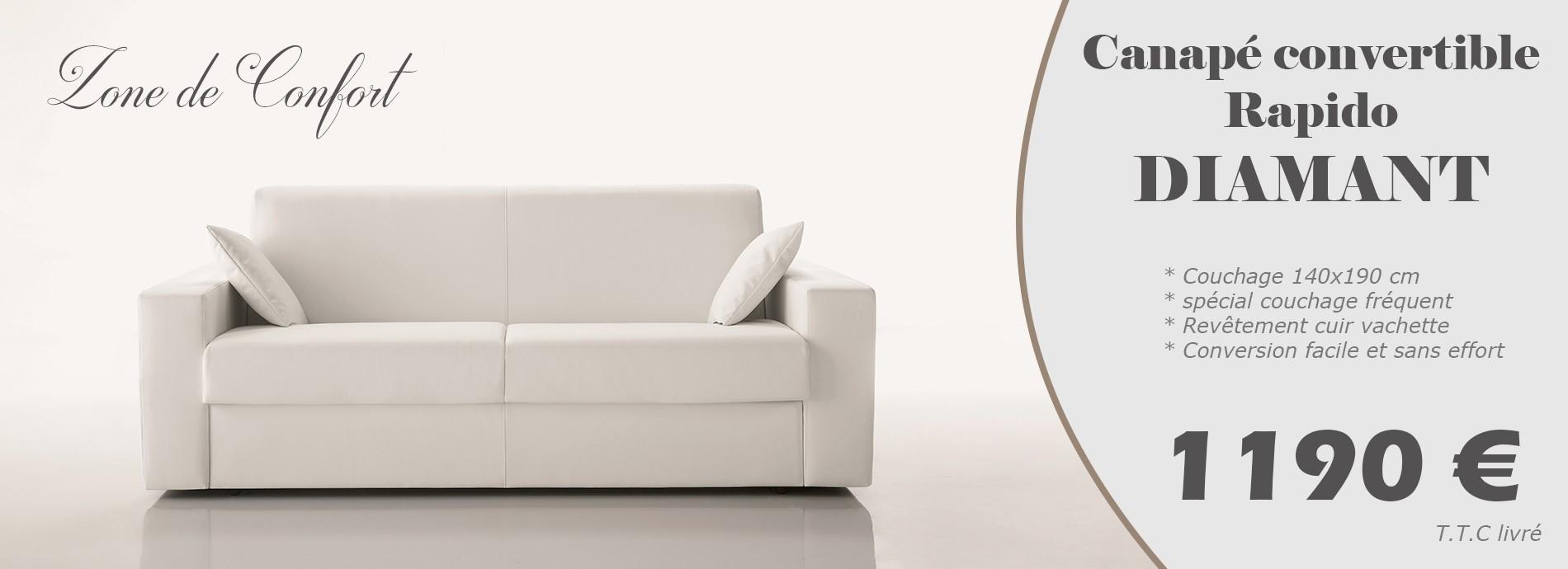 Canapé lit convertible rapido couchage 140 cm revêtement cuir