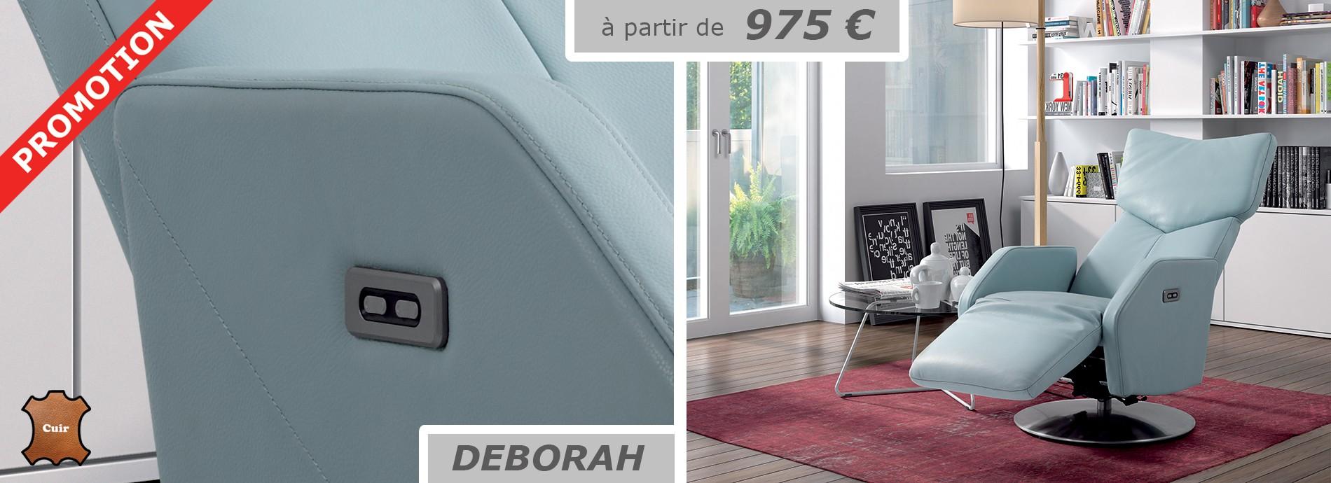 Fauteuil cuir relaxation électrique double moteur DEBORAH