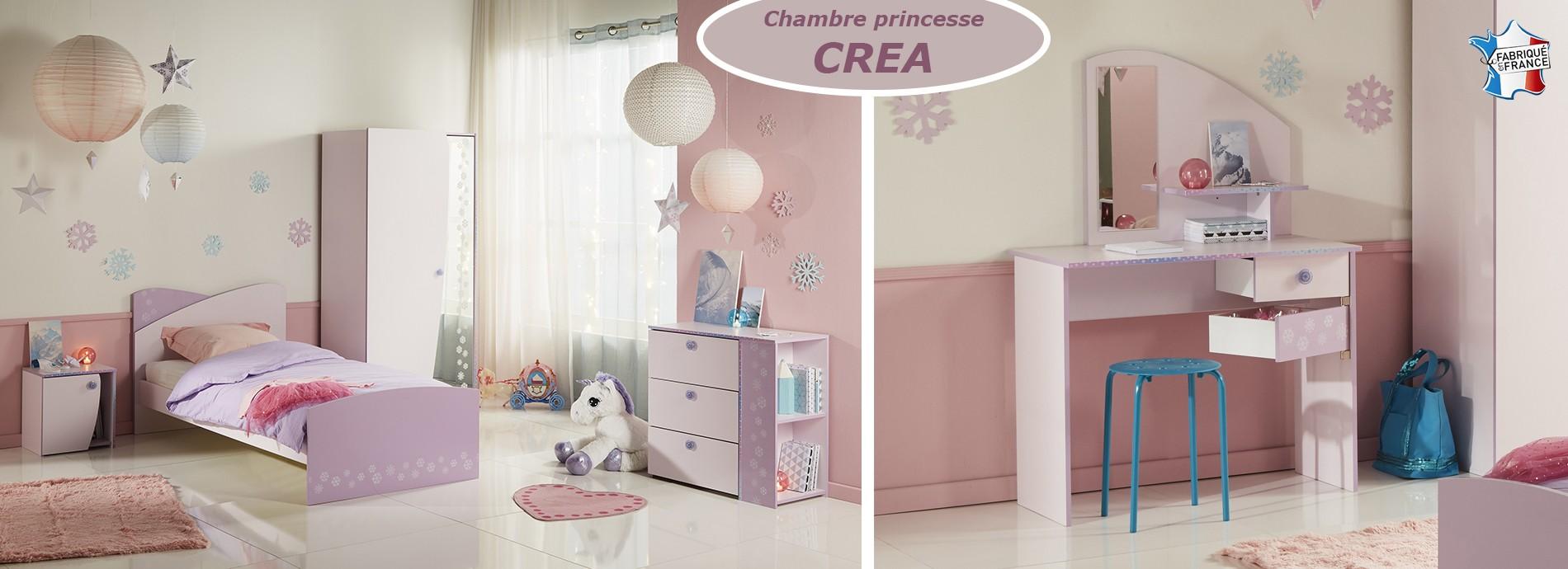 Chambre fille chambre de princesse couleur dragée et lilas avec décor flocons